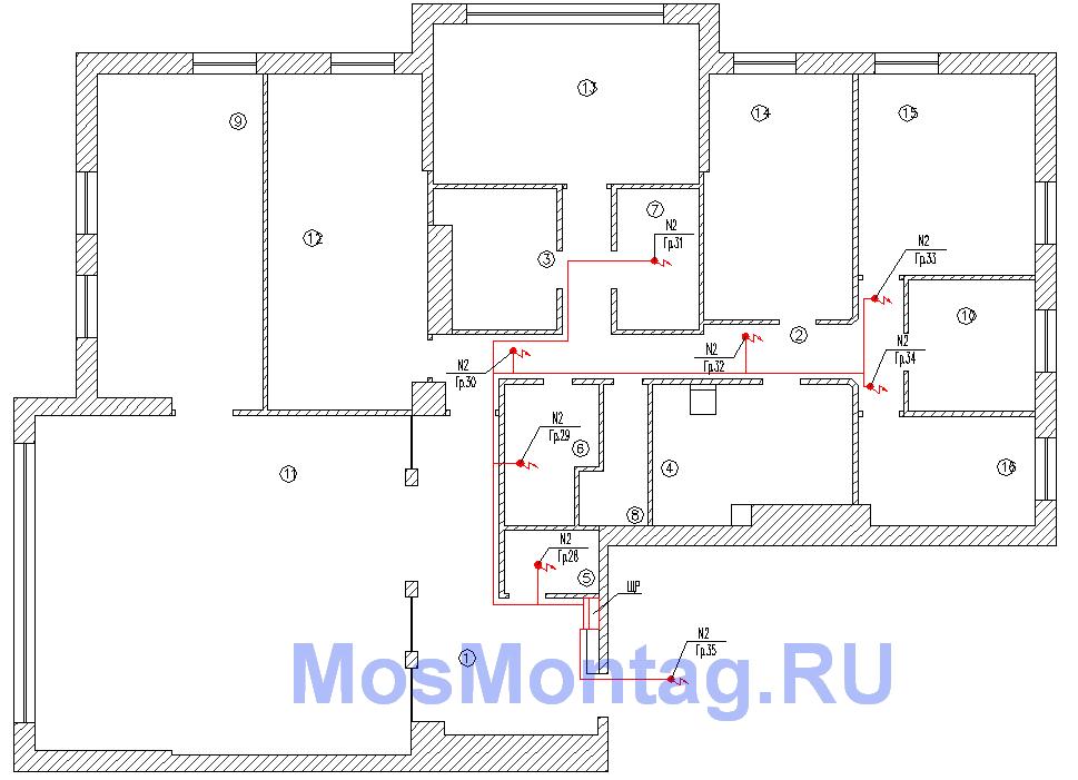 проект электроснабжения квартиры выводы вентиляции