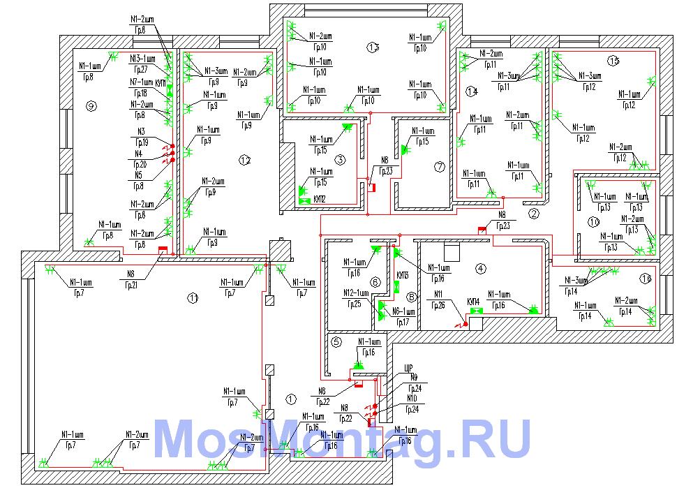 проект электроснабжения квартиры розетки