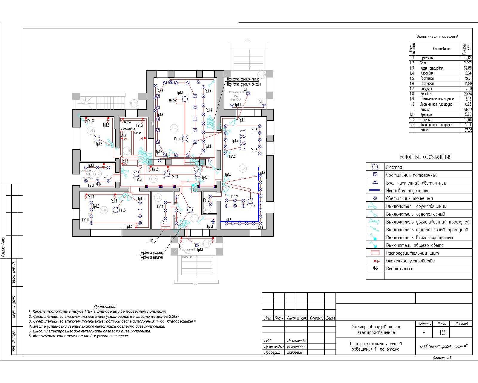Электрическая схема освещения в доме